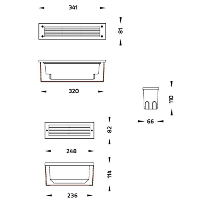 Brick LED Wandleuchte für Rampen und Fassaden Abmessungen