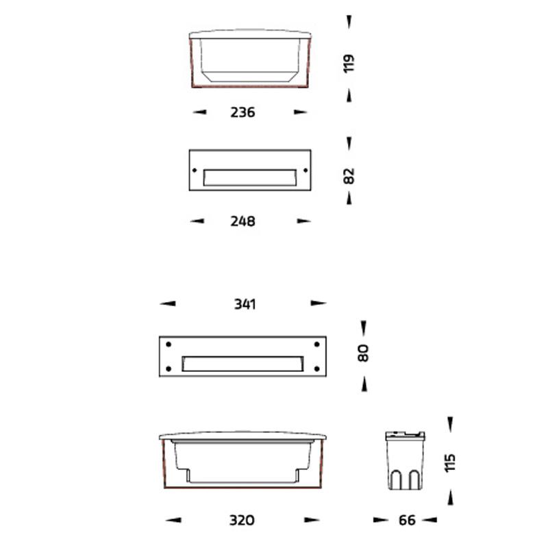 BrickR LED Wandleuchte für Rampen und Fassaden Abmessungen