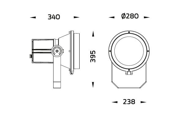Cannon LED Strahler Spotlight Abmessungen