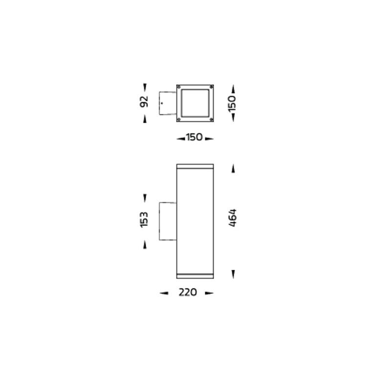 Core Maxi LED Wandleuchte beidseitig strahlend Abmessungen