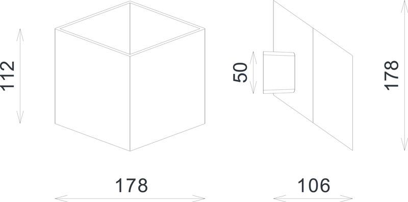 Abmessungen CUBE LED Wandleuchte