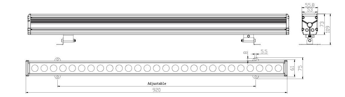 Linea Aluminiumprofil Wallwasher Fassadenleuchte Abmessungen