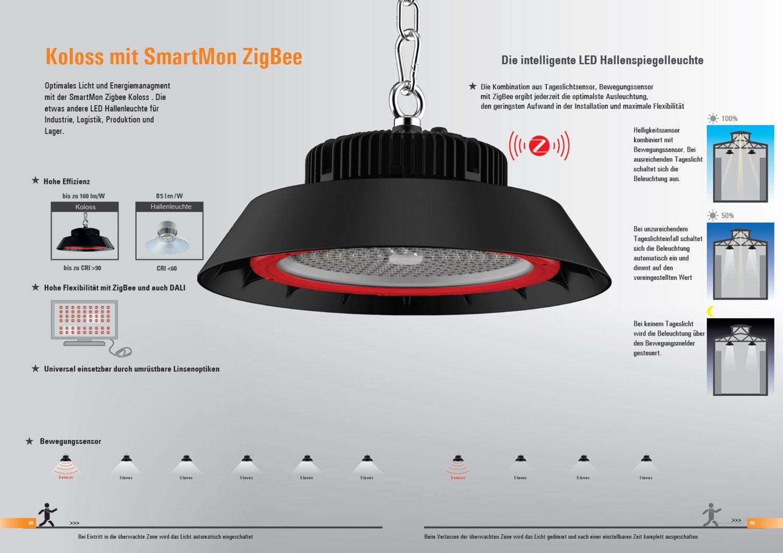 LED Hallenleuchte Koloss mit smartmon ZigBee Lichtsteuerung