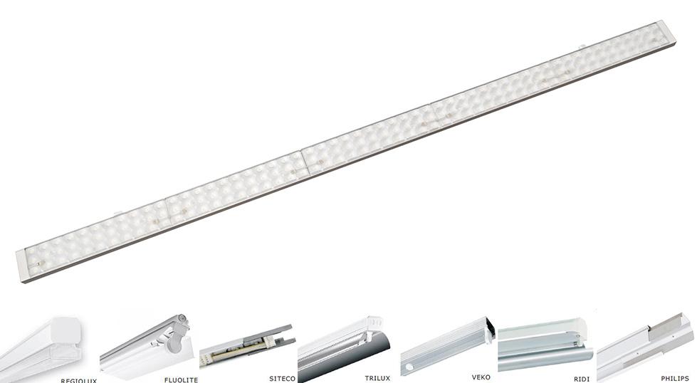 LED Leuchteneinsatz für Lichtbandsystem von Hersteller wie Zumtobel, Philips und Siteco