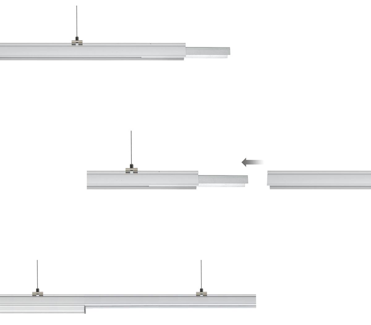 LED Lichtbandsystem Montage Tragschiene mit Verriegelung