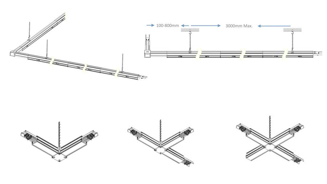 LED Tragschiene Verbinder mit Abhängung