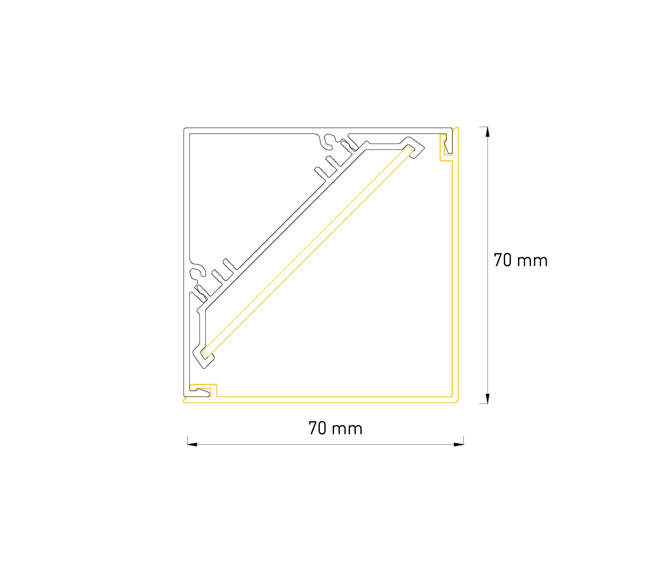 LED Profilleuchte Lin SML Eckprofil Abmessung