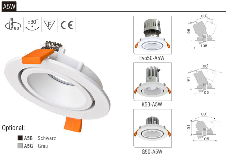 LED Strahler Einbaurahmen A5W