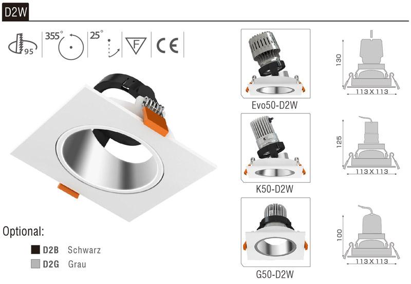 LED Strahler Einbaurahmen D2W