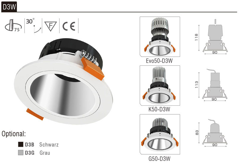 LED Strahler Einbaurahmen D3W