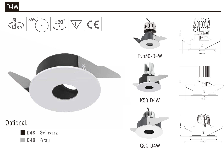 LED Strahler Einbaurahmen D4W