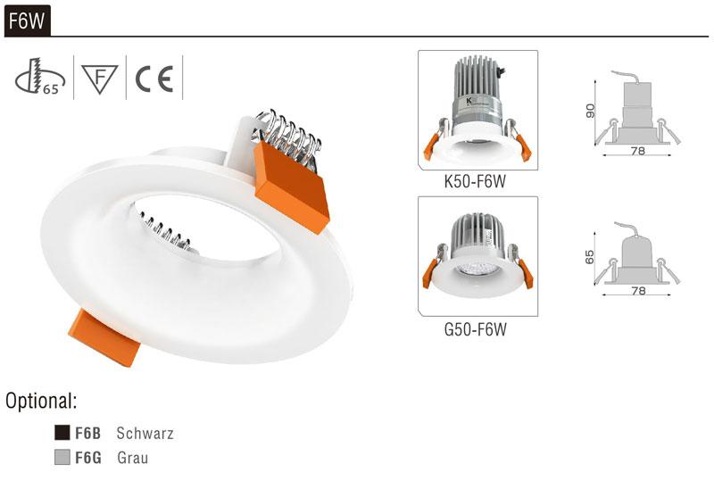 LED Strahler Einbaurahmen F6W