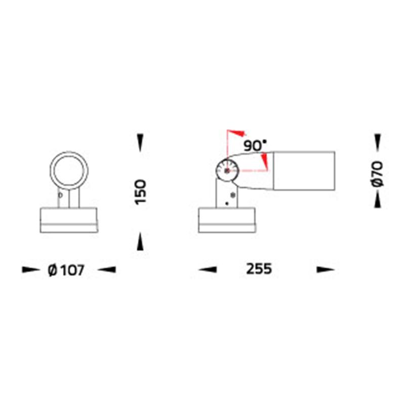 LED Strahler Telescope IP65 Abmessungen