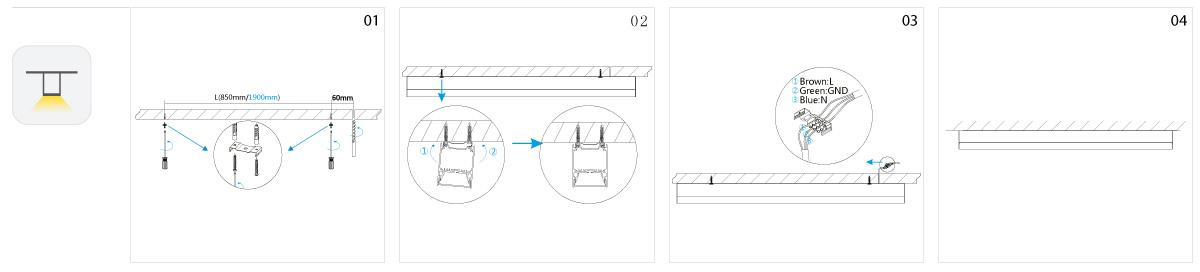 Line LED Anbauleuchte Montage
