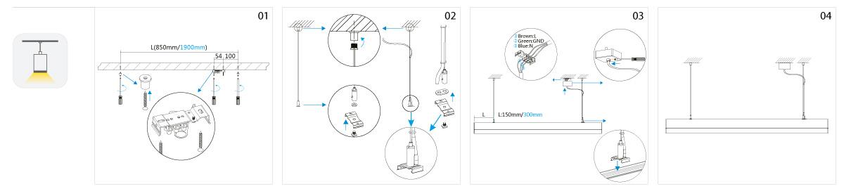 Line LED Pendelleuchte Montage
