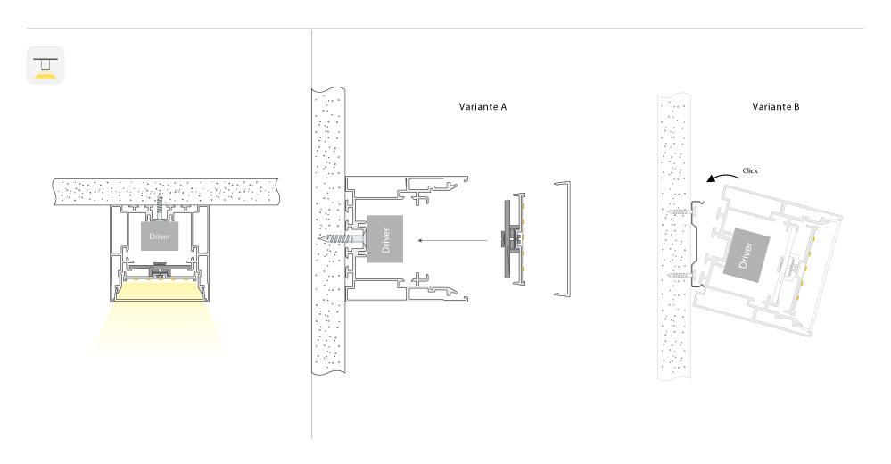 LED Lichtbandsystem Lichtlinie LineM Anbau