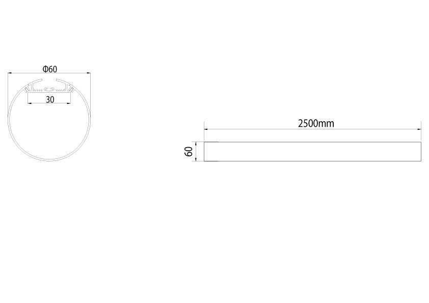 LineR runde LED Pendelleuchte LT60 Abmessungen