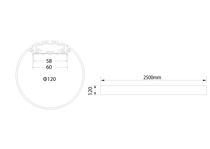 LineR runde LED Pendelleuchte LT120 Abmessungen
