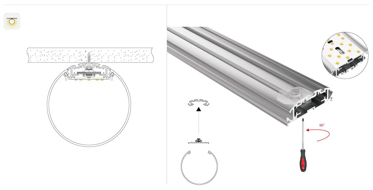 LineR runde LED Pendelleuchte Montage angebaut