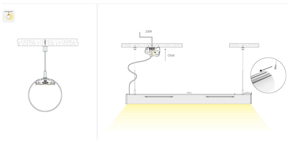 LineR runde LED Pendelleuchte Montage abgehängt