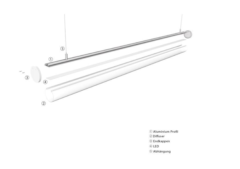 LED Pendel und Anbauleuchte LineR 60