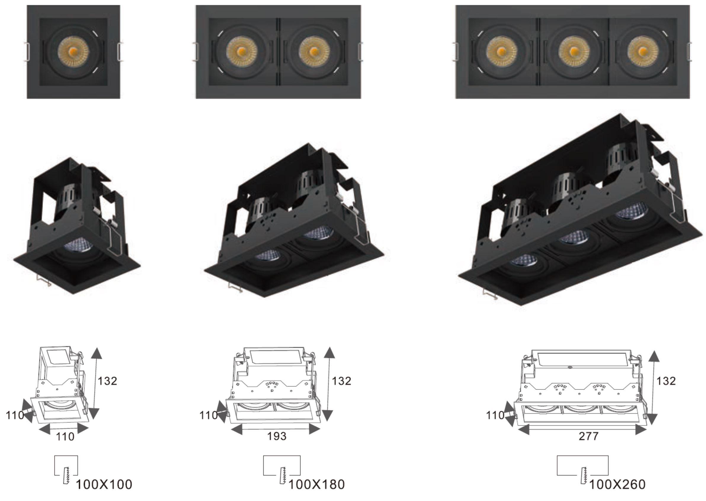 LED Spotlight Matrix Einbaurahmen