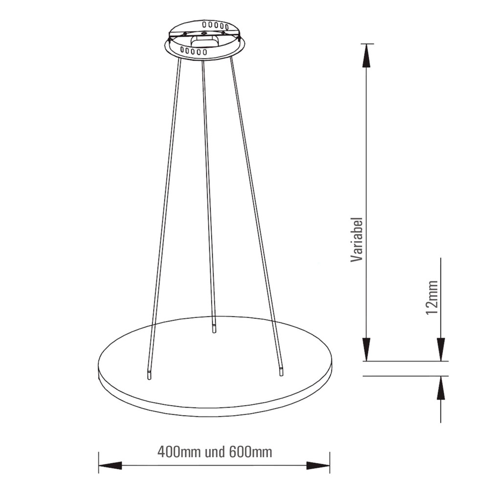 LED Pendelleuchte Mero Abmessungen