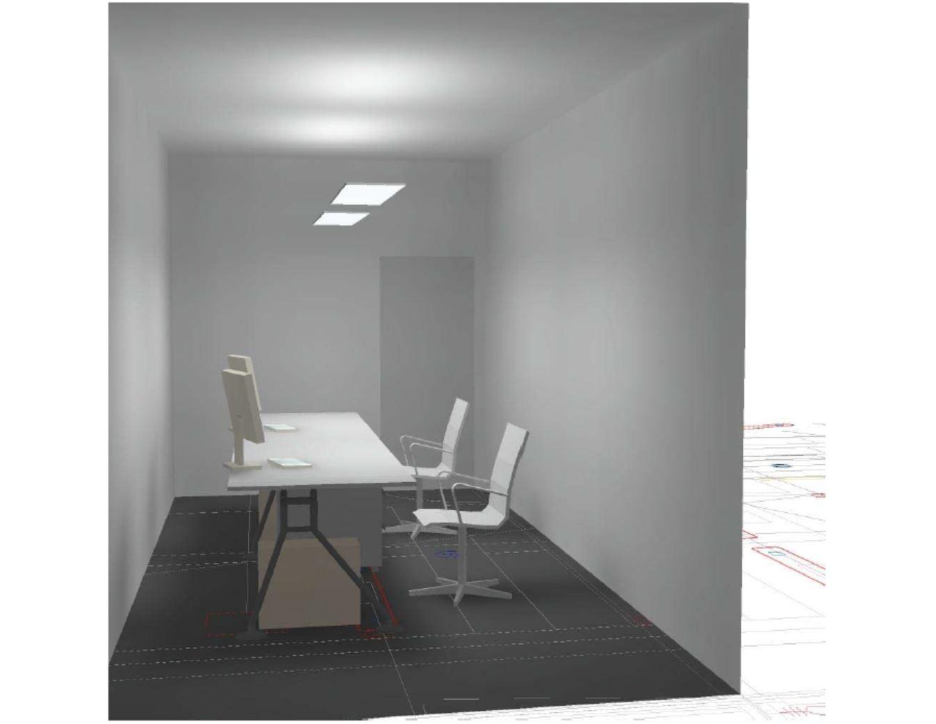 Musteranlage LED Beleuchtung 2-Achsen Büro mit LED Pendelleuchte direkt-indirekt