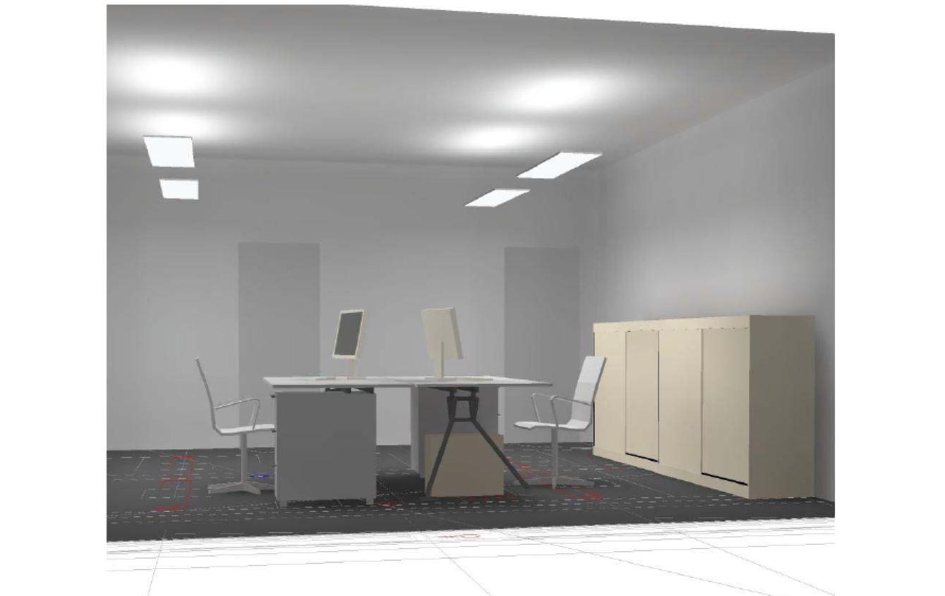 Musteranlage LED Beleuchtung 4-Achsen Büro mit LED Pendelleuchte direkt-indirekt