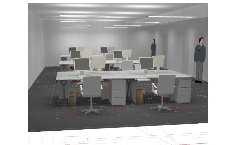 Musteranlage LED Beleuchtung Open Space Büro mit LED Pendelleuchte direkt-indirekt