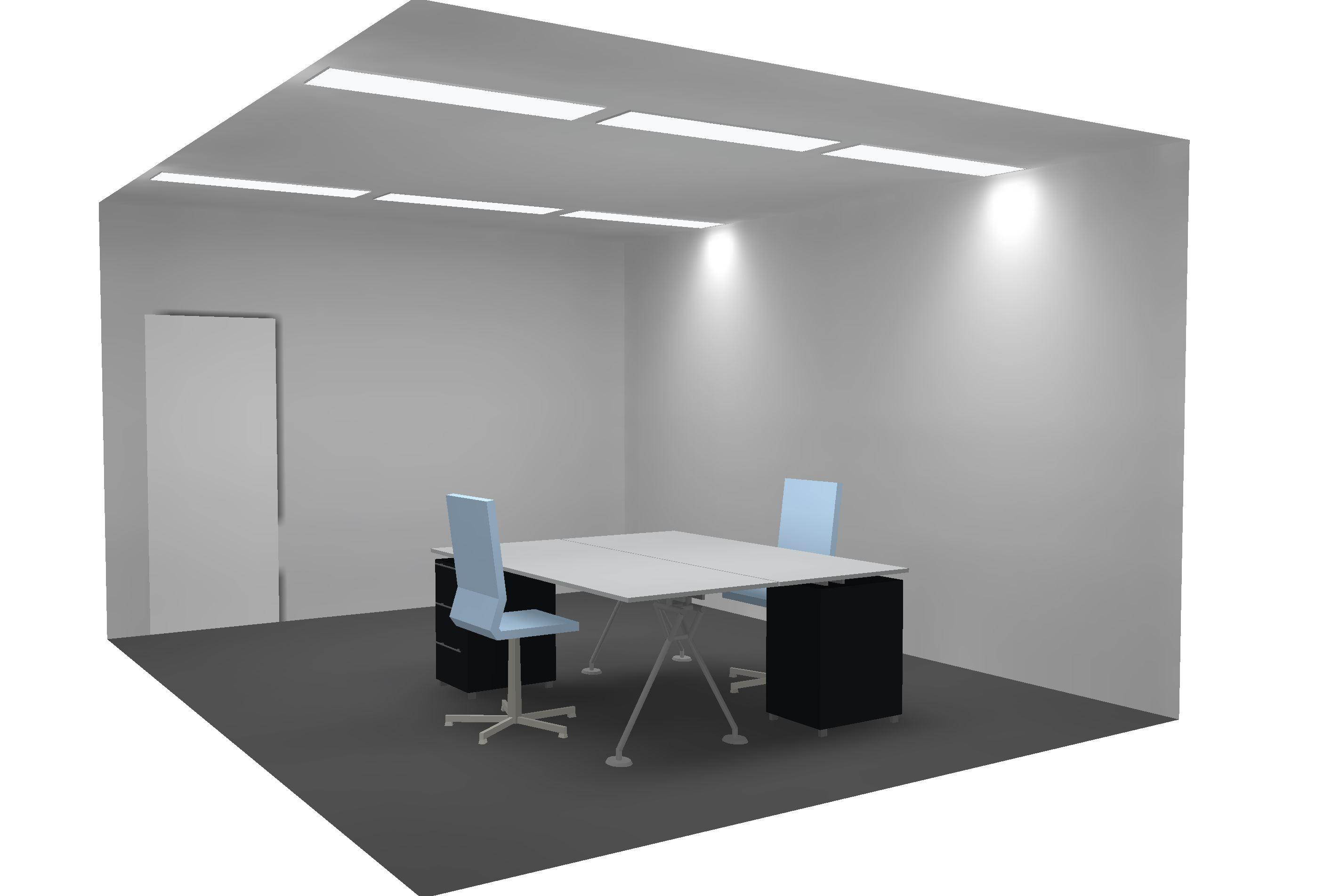 LED Bürobeleuchtung mit LED Panel in Metalldecke 3-Achsen