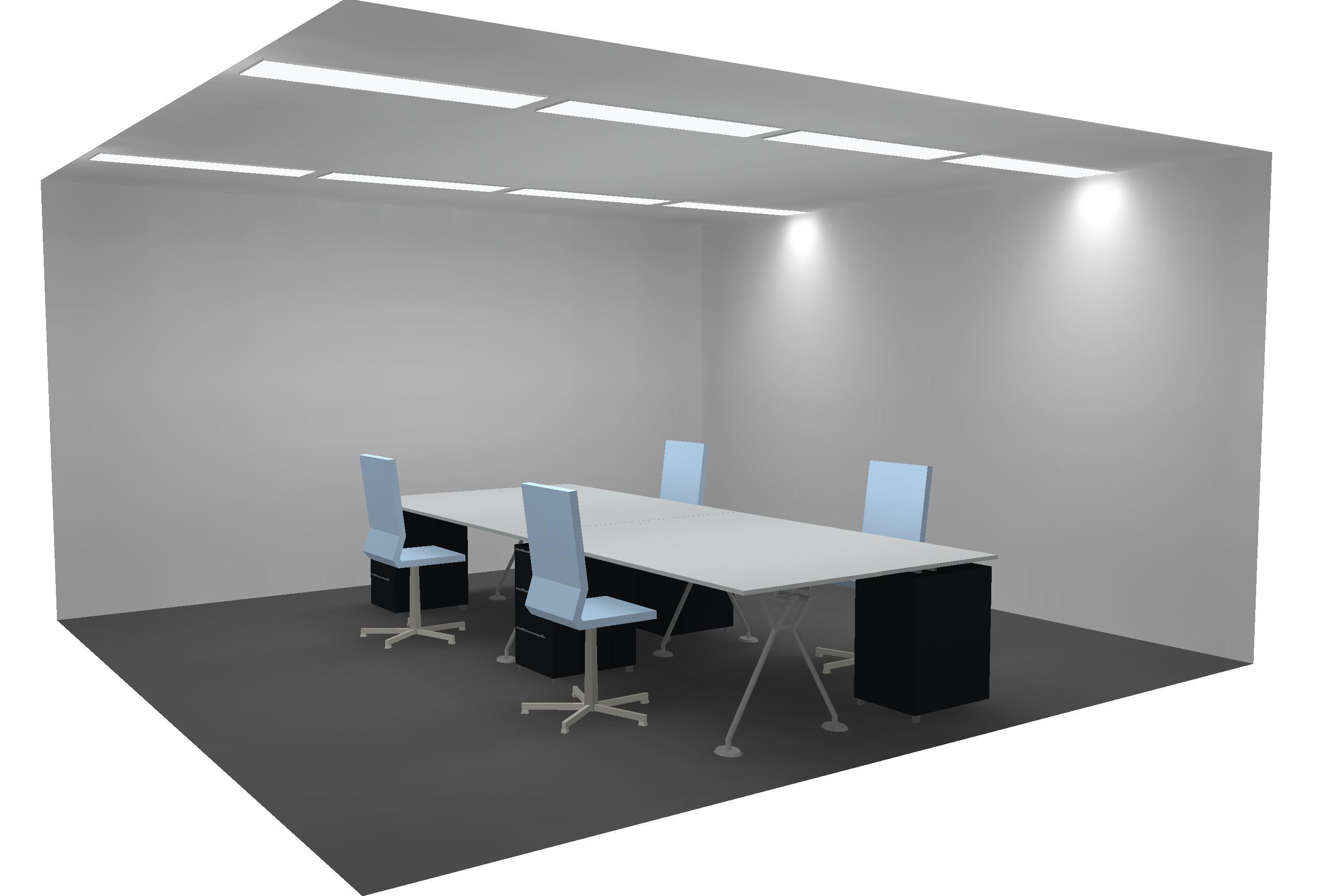 LED Bürobeleuchtung mit LED Panel in Metalldecke 4-Achsen