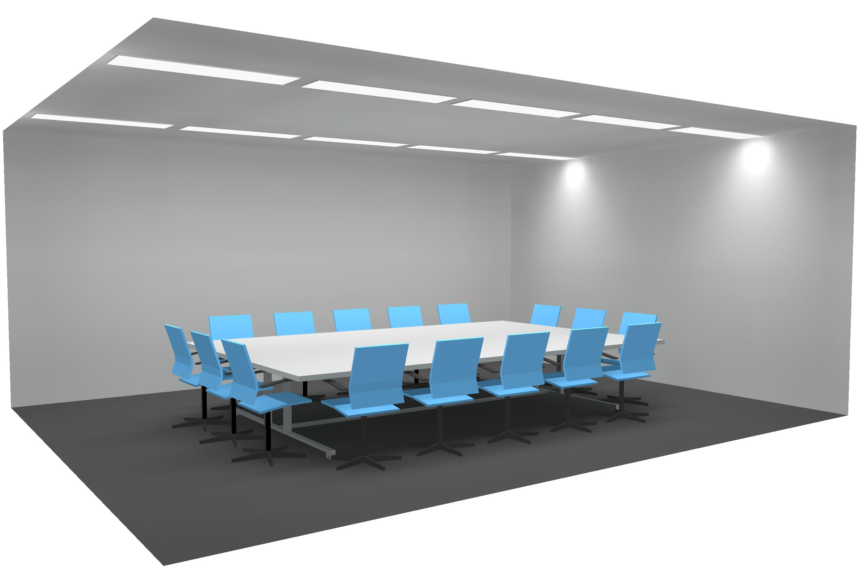 LED Einbauleuchte in Metalldecke zwischen Bandraster Besprechungszimmer