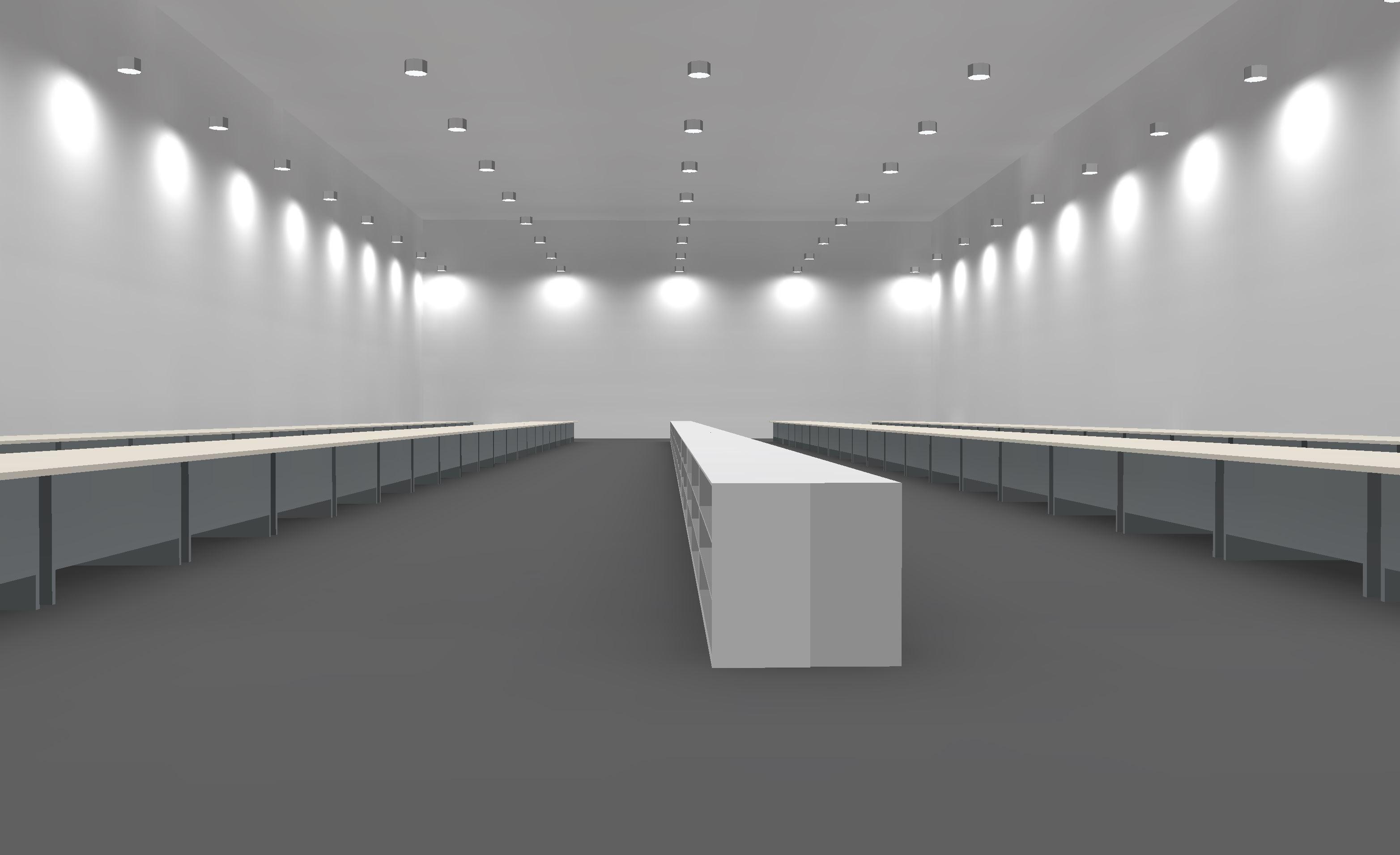 LED Hallenbeleuchtung Musteranlage feine Verarbeitung Lichtberechnung