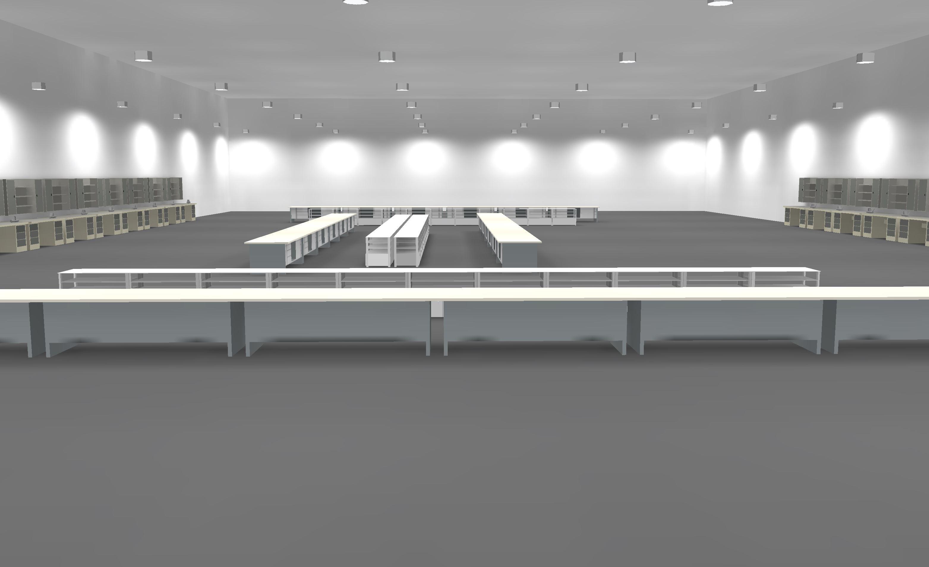 LED Hallenbeleuchtung Musteranlage grobe Montagearbeiten