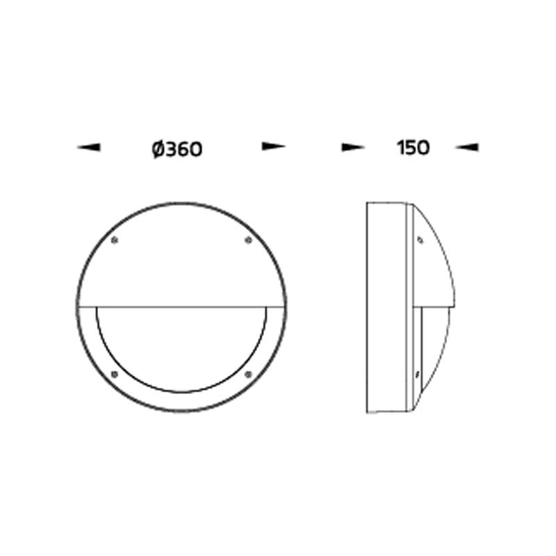 Relina LED Wandleuchte für Balkone und Fassaden Abmessungen