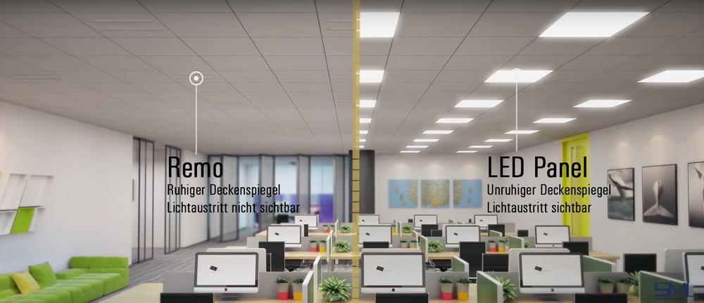 LED Deckeneinbauleuchte Remo mit Darklight Refelktor vergleich mit LED Panel