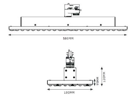 SML LED Lense Track Stromschienenstrahler mit Linsenoptik Abmessungen