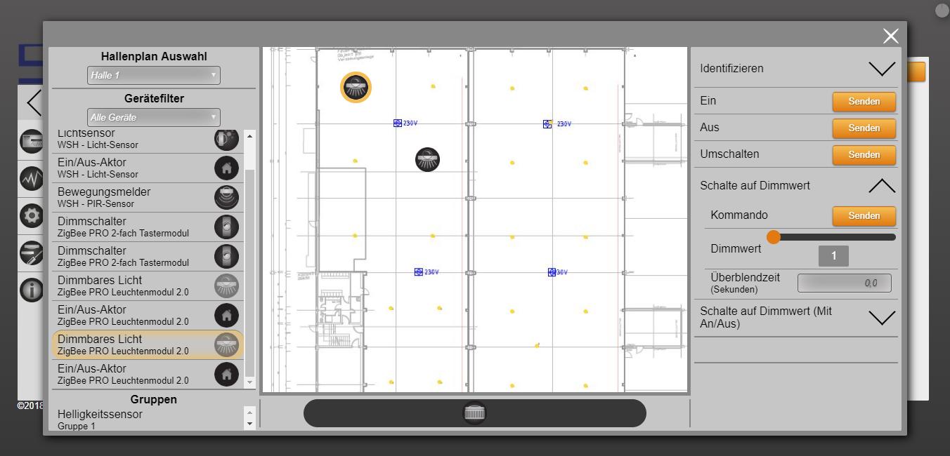 SML LED smartMon Hallenplan Weboberfläche