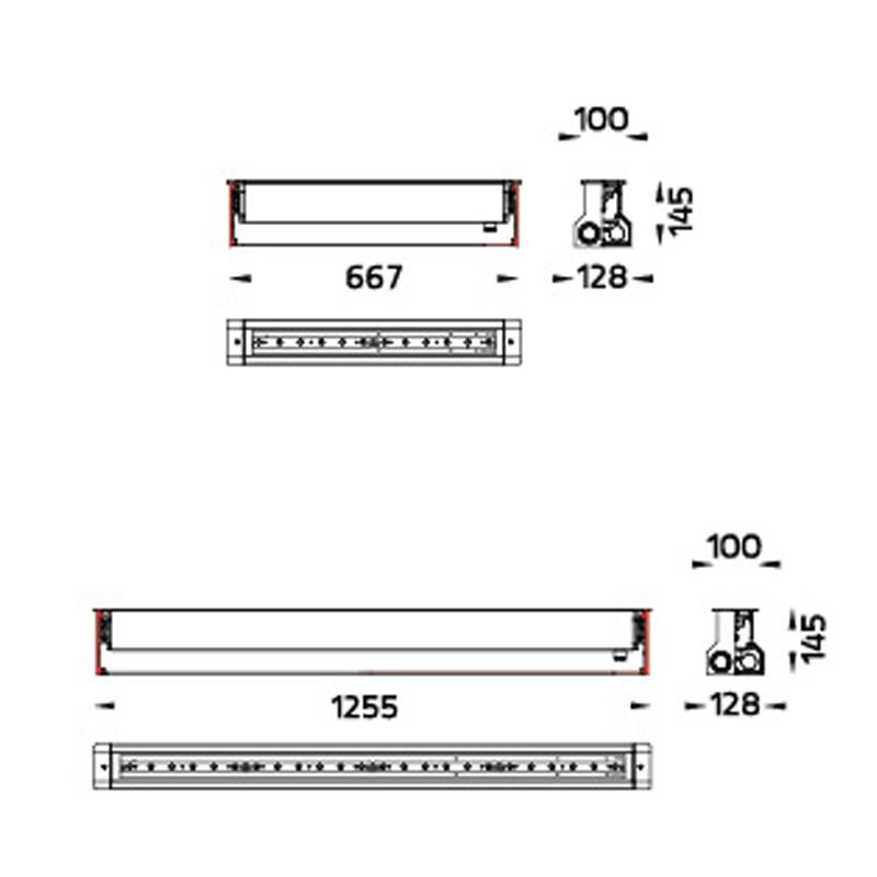 Saber LED Bodeneinbauleuchte Fassadenanstrahlung Abmessungen