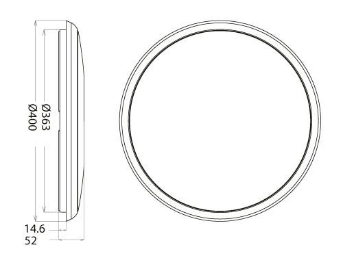 Abmessung UFO 2.0 LED Deckenleuchte IP54 geringe Höhe von SML