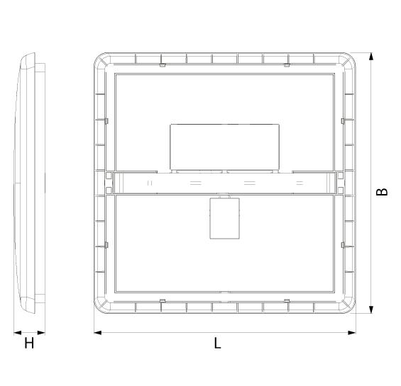 Abmessung UFO 2.0 LED Deckenleuchte von SML quadratisch geringe Höhe von SML