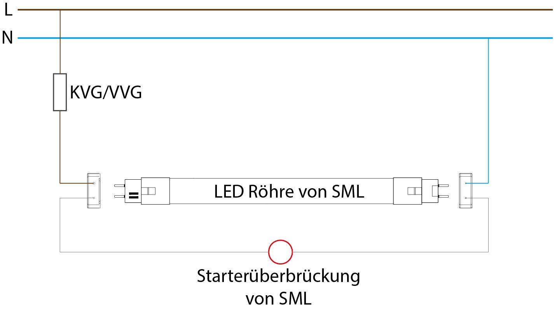 Umrüstung Anschluss einer Leuchte mit Einzelschaltung mit VVG oder KVG auf LED Röhre von SML Mit konventioneller Leuchtstofflampe