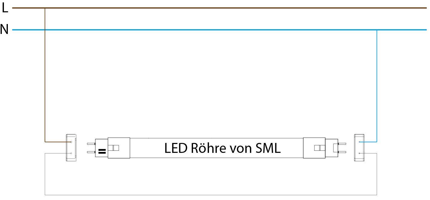 Umrüstung Anschluss einer Leuchte mit EVG auf LED Röhre von SML