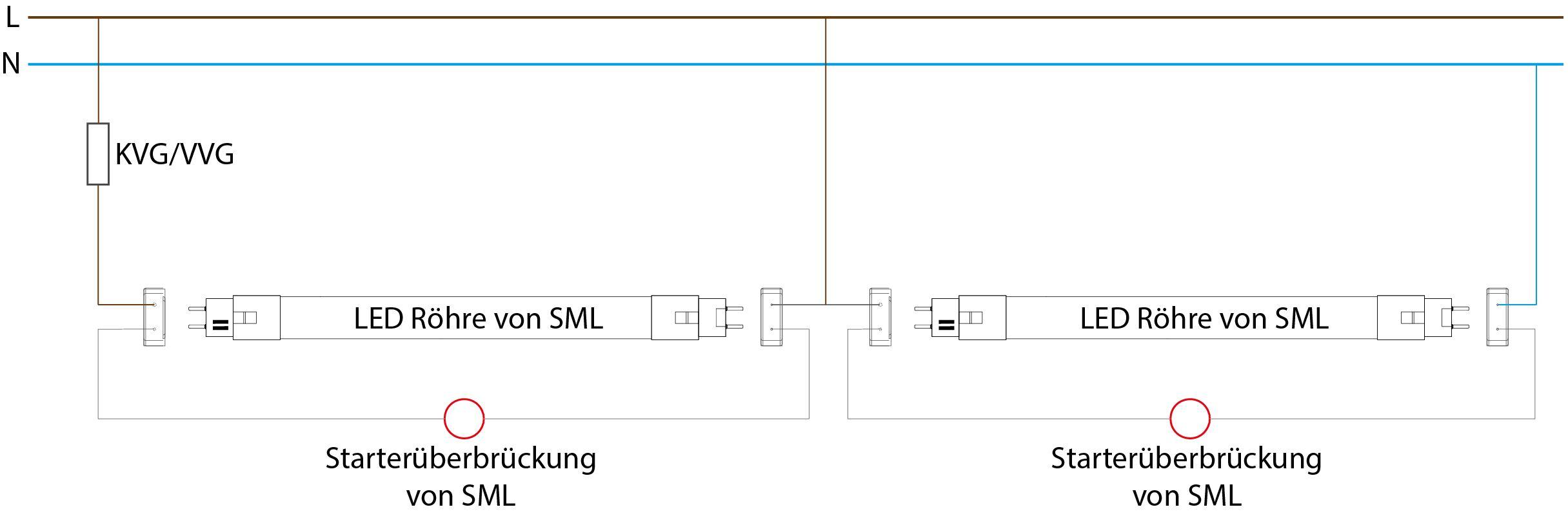 Umrüstung Anschluss einer Leuchte mit Duoschaltung mit VVG oder KVG auf LED Röhre von SML