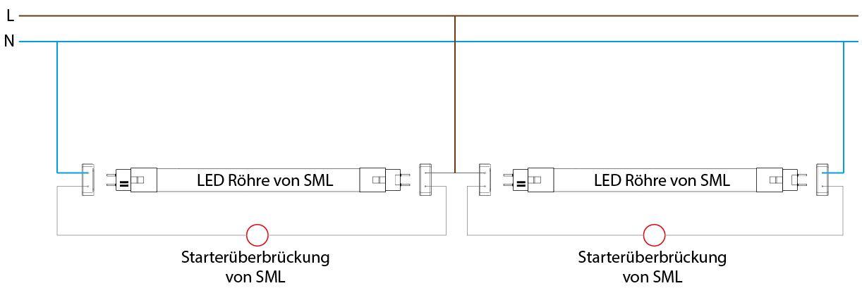 Umrüstung Anschluss einer Leuchte mit Tandemschaltung mit VVG oder KVG auf LED Röhre von SML