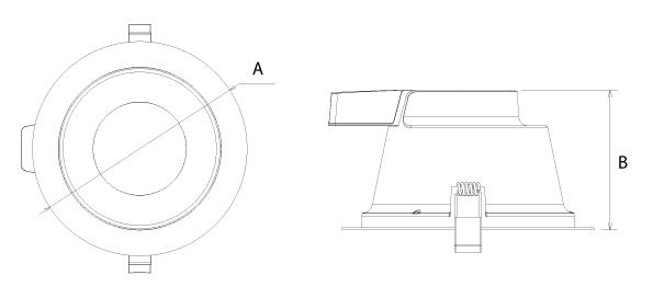 Xerxes F DOB LED Downlight mit facettiertem Reflektor Abmessung