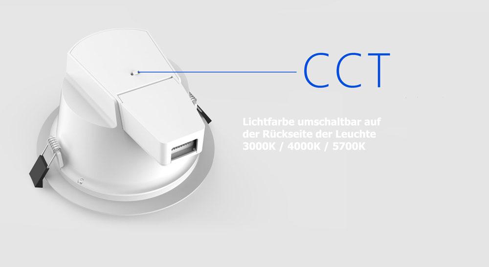 LED Downlight Lichtfarbe einstellbar
