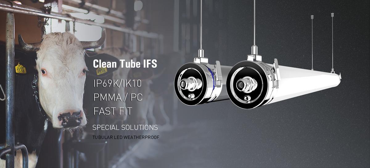 Clean Tube IFS LED Feuchtraumleuchte Clean Tube mit IFS Standard für Lebensmittelproduktion