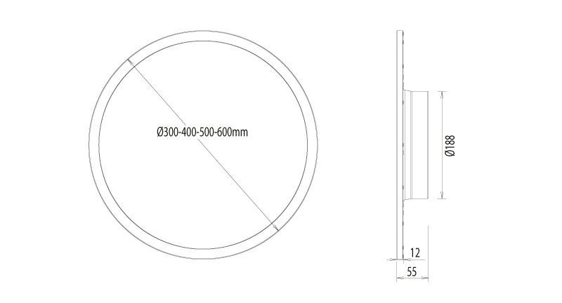 Disc LED Anbau- Einbauleuchte Abmessungen